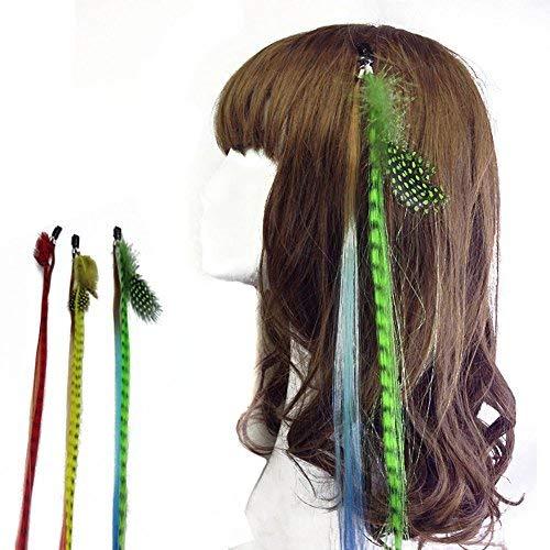 6 Pcs Boho Handmade Hippie Hair Extensions Wig Headwear Hair Clip with Colourful - DIY Hairpin Headdress Accessories for Women Lady Girls