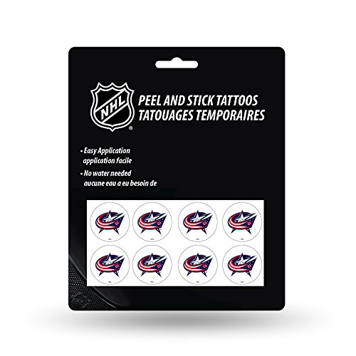 (Rico Industries NHL Columbus Blue Jackets Face Tattoos, 8-Piece Set)
