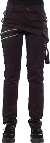 EnergyWD Women Cargo Rivets Studded High Waist Slim-Fit Pockets Pull-on Pants