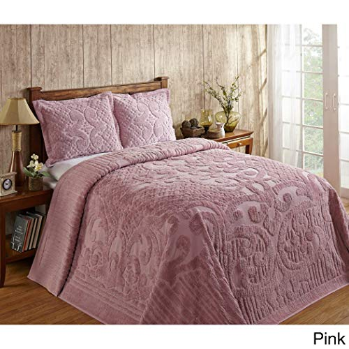 1 Piece Pink Oversized Chenille Bedspread Queen, Coastal Solid Color Medallion Pattern Extra Long Wide Drapes Over Edge Drops Down To The Floor Oversize Bedding Flower Shabby Chic Warm Cozy, Cotton ()