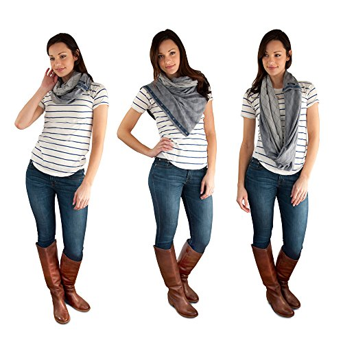 Free Scarf - NuRoo Nursing Scarf in Indigo Diamond with snaps. Soft, breathable, & wrinkle free