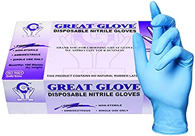 GREAT GLOVE Industrial Grade Glove, Nitrile Synthetic Rubber, 4.5 mil - 5 mil, Lightly Powdered, Latex Free, Allergy Free