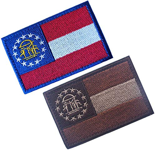 HFDA 2 Piece Georgia Flag Patches Morale Patches Cloth Fabric Badges Tactical Patches (Color 20)
