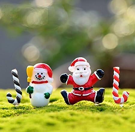urgrace 50pcs/set decoración de jardín de resina Mini figura de muñeco de nieve Craft en miniatura maceta Bonsai Micro Paisaje Adornos Diy juguetes de regalo de Navidad: Amazon.es: Hogar
