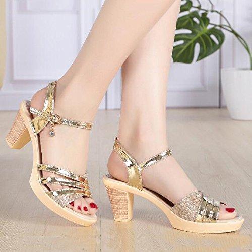 dress Frauen kleid knöchelriemen sandalen dicke spitze hochhackige offene formale plattform gold patry damen hochzeit pumpen für q8SrqP