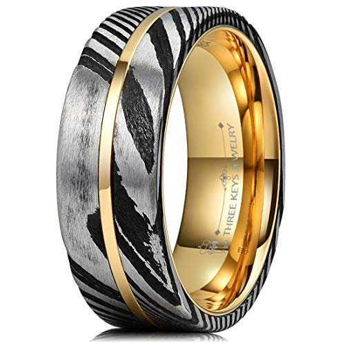 Three Keys Jewelry 8mm Black Damascus Steel Mens Wedding Ring Domed Wood Grain Plated Gold Liner & Inlay Damascus Wedding Band Engagement Ring Size 12 from Three Keys Jewelry