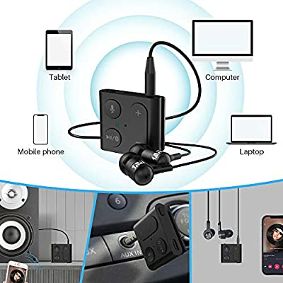 1Mii Tiny Bluetooth Car Adapter, Aux Bluetooth 5.0 Receiver for Car Stereo Input Cell Phone Audio, Handsfree Calls Car Kit, Portable and Multifunctional,3D Surround: Car Electronics