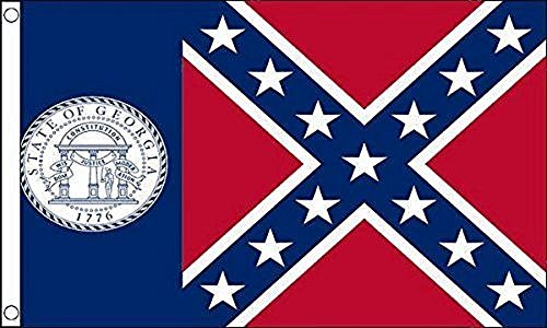 3x5 Old Georgia State Flag Rough Tex Knitted 3'x5' banner Fade Resistant Double Stitched Premium Penant House Banner Grommets -
