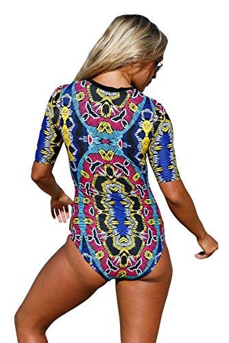 New astratto stampato zip frontale a mezza manica Monkini Swimsuit bikini Swimwear estivo taglia UK 8EU 36