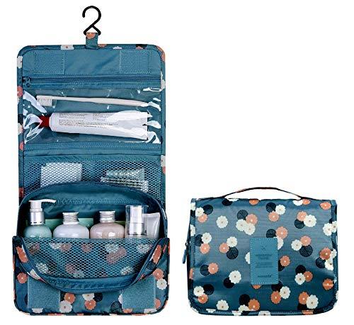 ESLETO Hanging Toiletry Bag Cosmetic Waterproof Travel Bag Makeup Portable Organizer for Women & Men and Girls (Blue Flower)