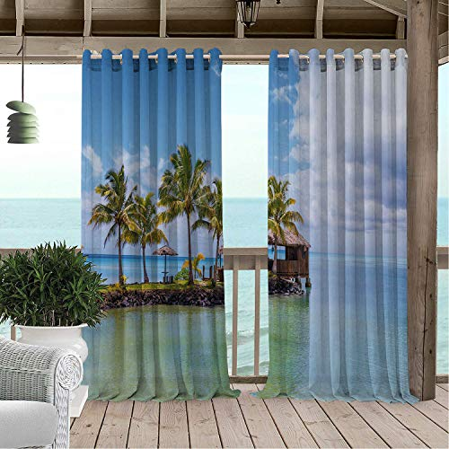 aterproof Curtain Samoa Picturesque Photo of Tropical Island Beach Tranquil Water and Cloudy Sky Multicolor doorways Grommet Party Curtains 84 by 96 inch ()