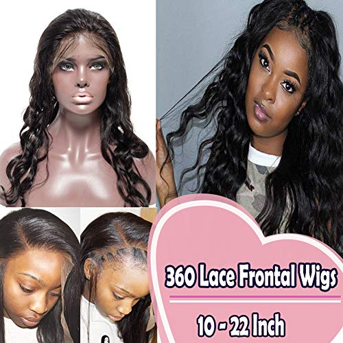 Babe Wig - 360 Lace Frontal Wig Brazilian Human Hair with Baby Hair for Black Women Body Wave Curly Human Hair 18