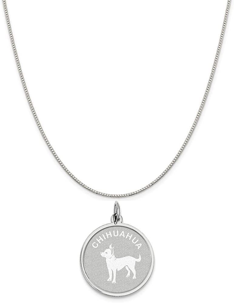 16-20 Mireval Sterling Silver Chihuahua Disc Charm on a Sterling Silver Chain Necklace