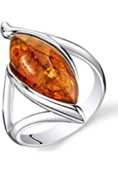 Baltic Amber Elliptical Ring Sterling Silver Cognac Color Marquise Shape Sizes 5-9