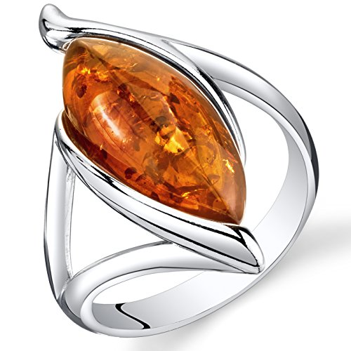 Baltic Amber Elliptical Ring Sterling Silver Cognac Color Marquise Shape Size 8