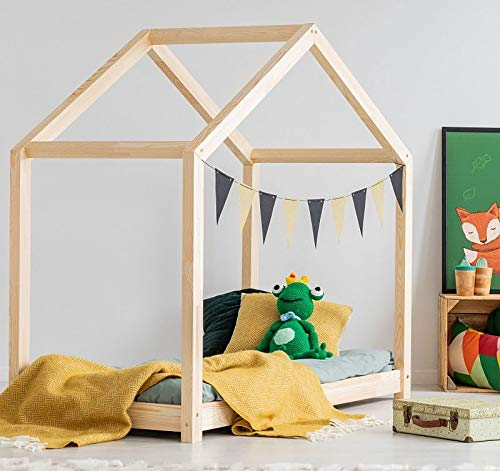 Best For Kids Hausbett X Kinderbett Kinderhaus Jugendbett Natur Haus Holz Bett in viele Größen 70x140cm-160x200cm(140x200cm)
