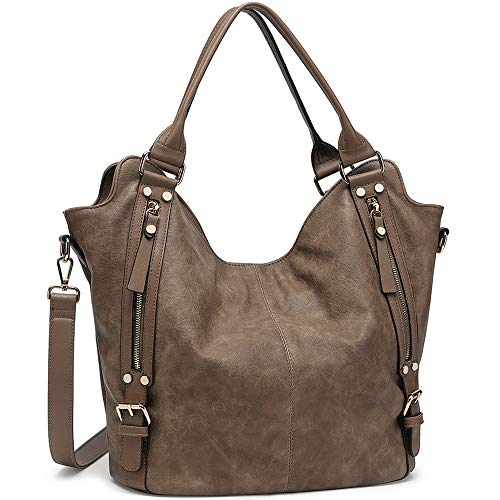 JOYSON Women Handbags Hobo Shoulder Bags Tote PU Leather Handbags Fashion Large Capacity Bags Sepia Brown, Medium