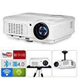 LCD Multimedia WiFi Bluetooth Projector Support Full HD 1080P Google Player Airplay iPhone 3600 Lumen LED Home Theater Projector Video Games Outdoor Movies Sports with HDMIx2 USBx2 VGA Audio Speakers