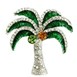Tropical Green Beach Palm Tree Pin Brooch Rhinestones Necklace Pendant Compatible Jewelry