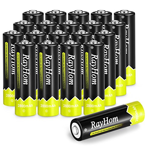RayHom AA Rechargeable Batteries 2800mAh Ni-MH Battery (20 Pack)