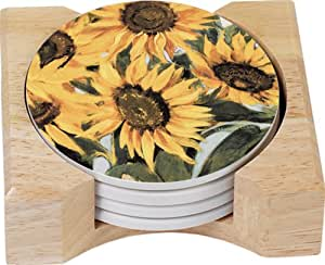 CounterArt Sunflowers Design Round Absorbent Coasters in Wooden Holder, Set of 4
