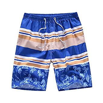 Newland Men's Printing Quick Dry Beach Board Shorts Swim Trunks Plus Size apricot 29-30 waist