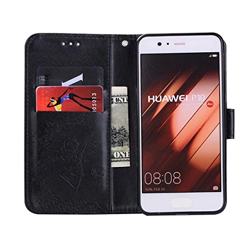 relief Slots PU 1 Fairy Lanyard Flip avec Stand Détachable Horse en en P10 cuir Case Pattern Black pour 2 amp; Crazy Girl Pouch Plus Texture en Cover Color Huawei Cash Black Card 8qq7Sw