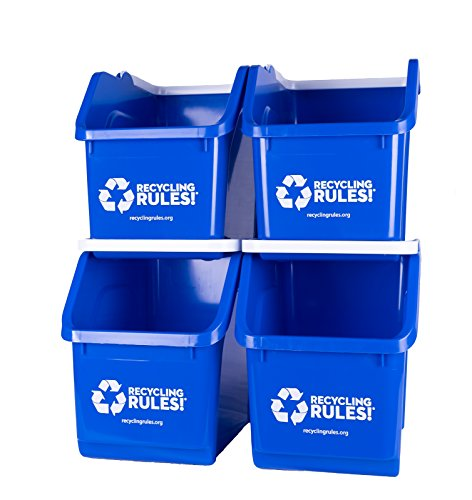 4 Pack of Bins - Blue Stackable Recycling Bin Container with Handle 6 Gallon (Container Plastic Recycling)