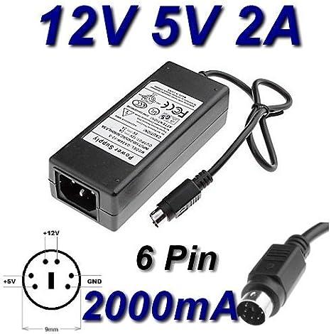 Cargador adaptador de CA 12 V, 2 A, 5 V, 6 pines de repuesto para GPS, 36-1205 w