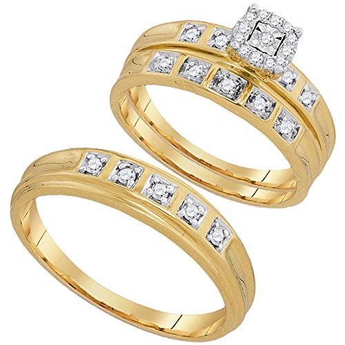 Jewel Tie Sizes - L = 8.5, M = 8-10k Yellow Gold Trio Mens & Womens Round Diamond Solitaire Bridal Engagement Ring Wedding Band Set (1/4 Cttw.)