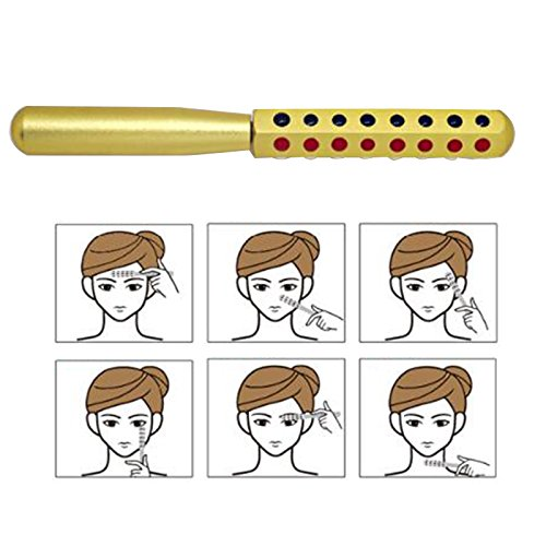 Zinnor Germanium Uplifting Massage Roller Beauty Wand for Face and Body - Rejuvenates Face and Neck Skin Care Beauty Massager, Metal Handle, Gold