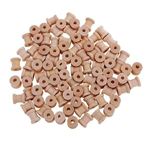 MagiDeal 100 Pieces Mini Natural Color Wooden Empty Spools for Thread String Ribbons Wires Trims - Wooden Mini Spool
