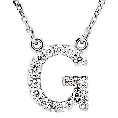 Dazzlingrock Collection 0.12 Carat (ctw) 14K Diamond Uppercase Letter G Initial Pendant (Silver Chain Included), White Gold