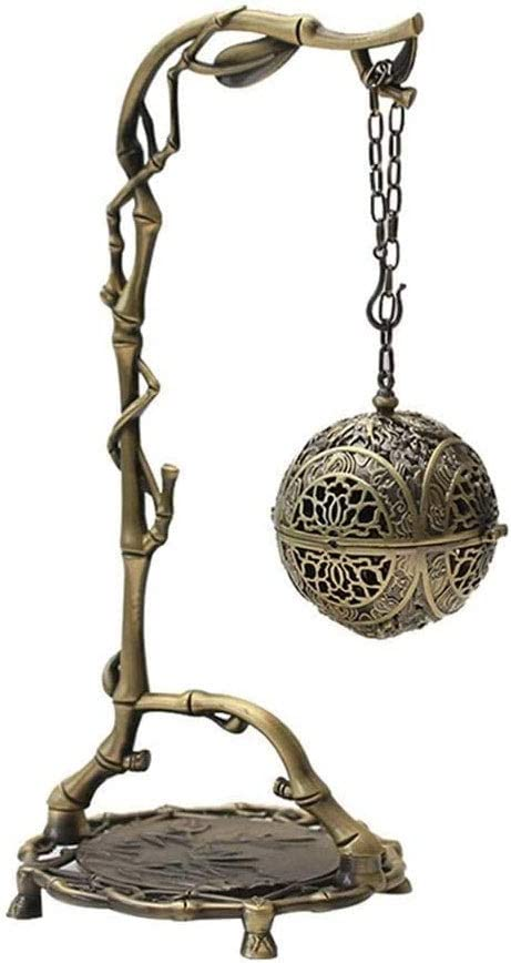 Latón Incienso Quemador de aromaterapia Estufa, Marco de Bronce de bambú Dragon Ball Colgante Estufa Inicio Hueco sándalo Horno Antiguo Decoración