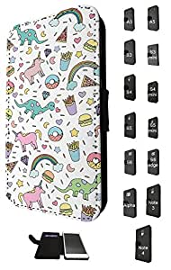 1047 - Cool fun cute unicorn dinosaur fast food junk food fries donut burger pizza diamond doodle drawing Design Samsung Galaxy S6 Fashion Trend TPU Leather Flip Case Full Case Flip Credit Card TPU Leather Purse Pouch Defender Stand Cover
