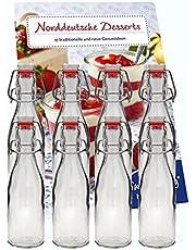 hocz Set van 10 strijkflessen, beugelflessen, glazen flessen, 200 ml, met beugelsluiting, om zelf te vullen, strijkfles, smoothie, set van 10