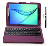 (US) IVSO Samsung Galaxy Tab S2 9.7 Keyboard case - Ultra-Thin DETACHABLE Bluetooth Keyboard Stand Case / Cover for Samsung Galaxy Tab S2 9.7 Tablet -With Free Stylus Pen(Purple)
