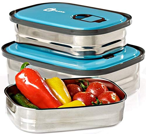 Bento Lunch Box Food Container Storage Set 3 In 1. Leak Proof Stainless Steel Can with Lids. Healthy Takeaway - Kids - Adults For Outdoor Meals. FREE BONUS-Enjoy Fun & ()