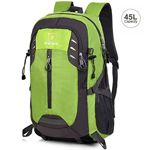 Vbiger Hiking Daypack Outdoor Backpack 45L Water Resistant for Traveling, Mountain Climbing (Green)