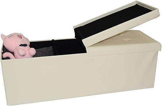 HS Lighting Faltbare Sitzbank Sitztruhe mit Stauraum 120L Aufbewahrungsbox mit Klappdeckel Sitzhocker Fußhocker, Kunstleder, belastbar bis 300 kg, 110