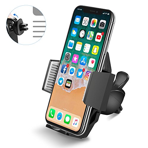 Car Phone Holder Mount, Quntis Air Vent Phone Mount with Quick Release Button and Firm Grip Holder for iPhone Samsung Galaxy LG GPS and More (Black)