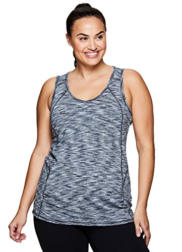 RBX Active Women's Plus Size Activewear Deep V-Neck Tank Top Black and White Combo 2X (Full Button Jersey Baseball Vest)