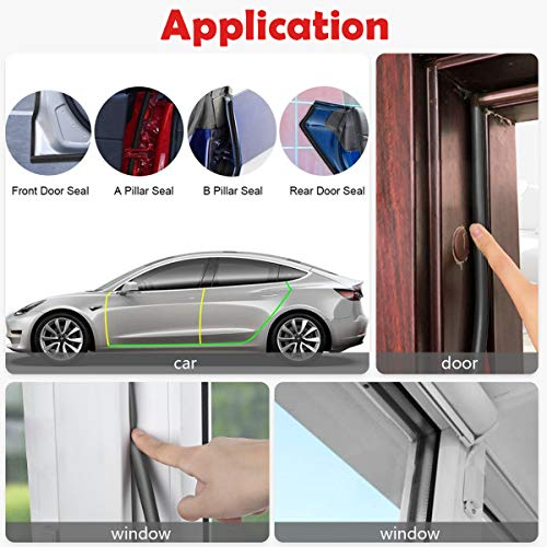 Weather Stripping Seal Strip for Doors/Windows 26 Feet, Self-Adhesive Backing Seals Large Gap, Easy Cut to Size (26 Feet) (Black)