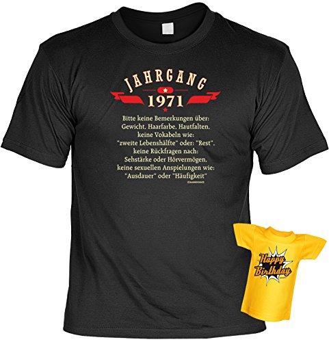 Modisches Herren Fun-T-Shirt als ideale Geschenkeidee im Set zum 45. Geburtstag + Mini Tshirt Jahrgang 1972 Farbe: schwarz