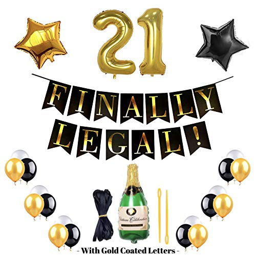 21st Birthday Kit FINALLY LEGAL BANNER 10 Black,10 White and 10 Gold Balloons With a Bottle of Champagne balloon for FREE We also include a 21st Gold Balloon Plus a Black and Gold STARS A Perfect GIFT ()