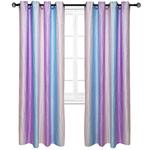 (Pink Purple Striped Curtains Ombre Modern Baby Lines Simple Living Room Bedroom Window Drapes Treatment Polyester Fabric (2 Panels 52 x 84 Inch))