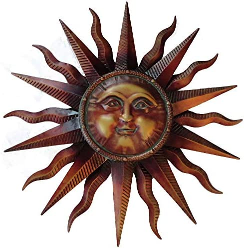 CHSGJY Vintage Copper Patina Sun Face Large Wall Hanging Metal Art Decor 38 inches Yard Sculpture Outdoor Living