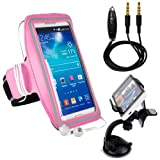 LG X Power / X Skin/ X5 / K3 / Spree / G5 / K7 / Optimus Zone 3 / K4 / K5 / K10 / Nexus X5 Pink Armband, Outdoor Jogging Excercise SportsBand Hiking Strap [Key Holder] + AUX Cable + Car Mount