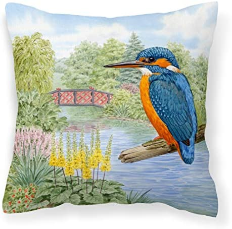 Caroline s Treasures ASAD0692PW1818 Kingfisher by Sarah Adams Canvas Decorative Pillow, 18H x18W, Multicolor