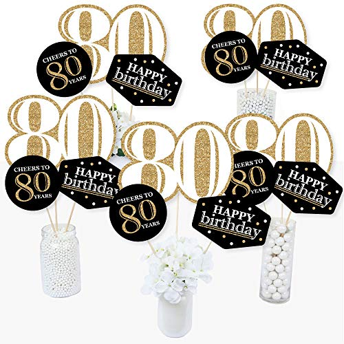 Party Table Centerpiece Birthday (Adult 80th Birthday - Gold - Birthday Party Centerpiece Sticks - Table Toppers - Set of 15)
